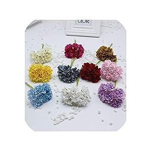 6 pcs/Bunch 4 cm Artificial Silk Flower Flowers Beads Garland Chrysanthemum Cherry Flower Brooch Decoration Material 73