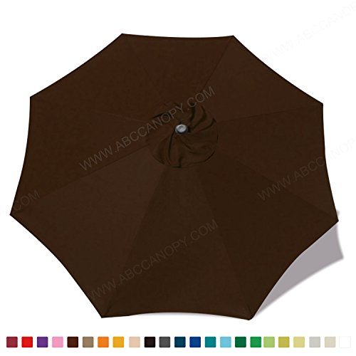 (30+colors)MasterCanopy Replacement Market Umbrella Canopy for 9ft 8 Ribs (Canopy Only) (Brown)
