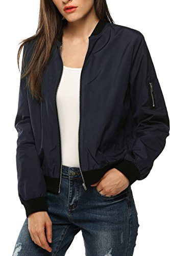 Zeagoo Womens Classic Quilted Jacket Short Bomber Jacket Coat, Navy Blue, Large, Navy Blue, Large