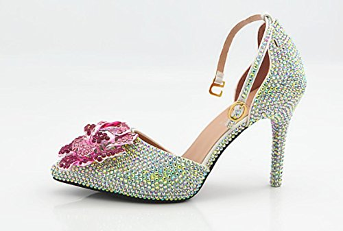Ycmdm Donne tacco alto cristallo scarpe a punta rosa Scarpe fatte a mano trapano da sposa sandali scarpe da sposa , as picture , 34