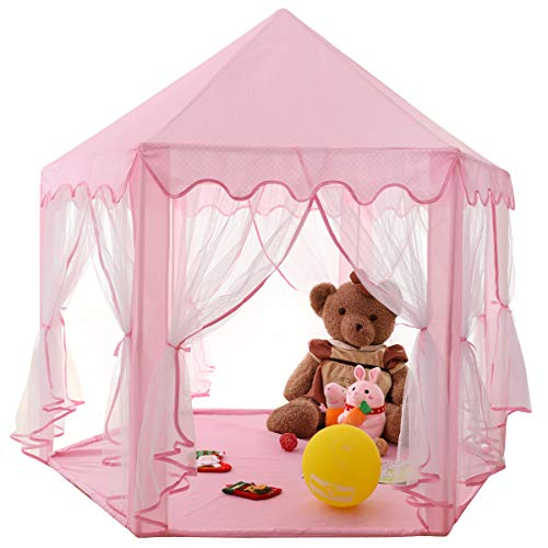 HZGOTech Kids Play Tent Toy Princess Tent Girls Large Playhouse, Kids Castle Play Tent for Kids Boys and Girls for Children Indoor and Outdoor Games, 55