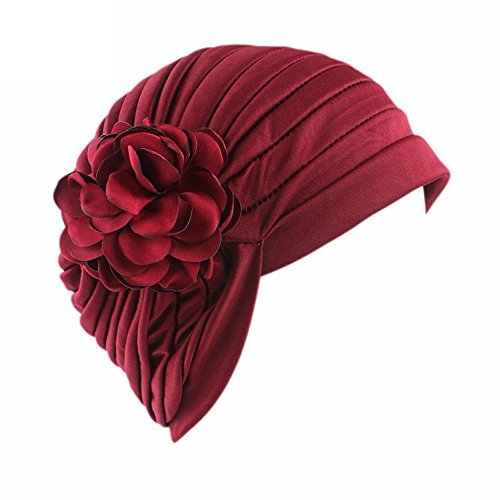 - Wcysin Womens Turban Brim Hat Cap Wave Design Cancer Chemo Hat Elastic Turban Headbands Wrap Cap (Wine Red)