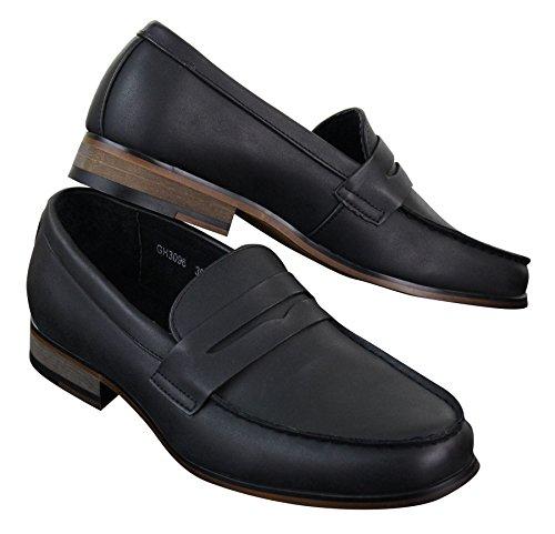 Stile in Vintage GALAX Classico Uomo Eleganti da Mocassini Pelle Nubuck Finta nero f11wIq8