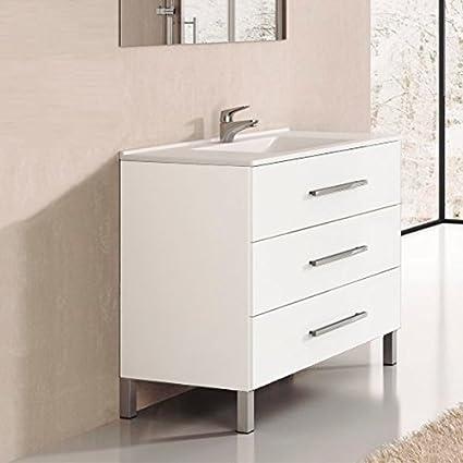 Ducha.es Indus Ensemble de salle de bain avec meuble et plan vasque en  céramique 80 cm Blanc brillant