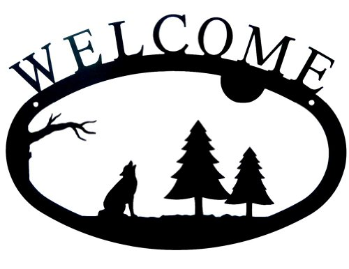 Modern Artisans Howling Wolf Welcome Sign, Wrought Iron Metal, 11.5