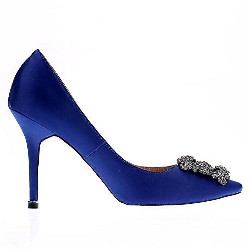Satin Full Diamonds High Toe Pointy Sole Women's Closed EKS Pumps Blue Heel 10cm qBRw5Hxy
