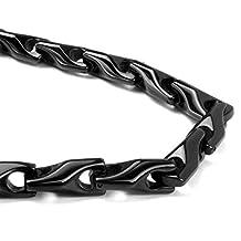 Black Tungsten Carbide Men's Wheat Link Necklace Chain
