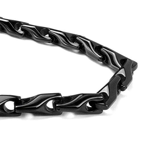 (Titanium Kay Black Tungsten Carbide Men's Wheat Link Necklace Chain)