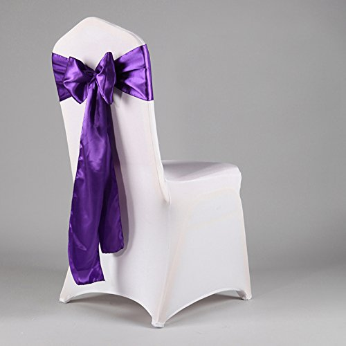 Set of 10 Chair Decorative Satin Sashes Bow Designed for Wedding Events Banquet Home Kitchen Decoration (Dark Purple)