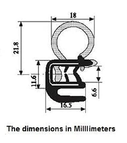 Door Trim Seal with Internal Rubber Flange 45//64 Bulb Diameter X 0.039-17//64 Grip Range X 21//32 U Height 30 Feet