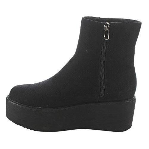 EK52 Sole Black Side Booties Women's Zipper Suede Platform Nature Lug Breeze Ankle qt0Bwxvn5