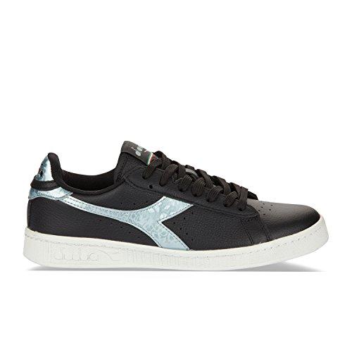 Diadora Men's Game Metallic Low-Top Sneakers C0787 - BLACK-SILVER