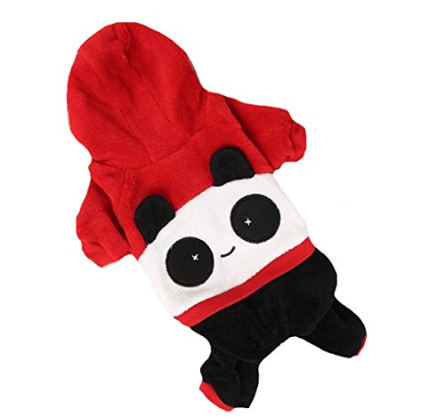 Cat Halloween Costumes Petsmart (Gracefur Comfortable Pet Clothes coral fleece Resilient Costume panda Hoodies for Small Dog M red)