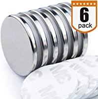 """DIYMAG Powerful Neodymium Disc Magnets, Strong, Permanent, Rare Earth Magnets. Fridge, DIY, Building, Scientific, Craft, and Office Magnets, 1.26""""D x 1/8""""H, Pack of 6"""