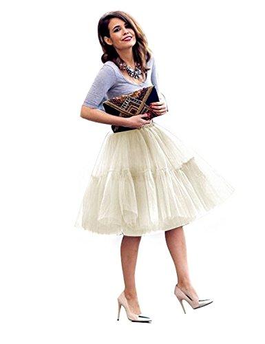 - FOLOBE Adult Ballet Tutu Layered Organza Lace Mini Skirt Women's Princess Petticoat for Prom Party,Small / Medium,Beige