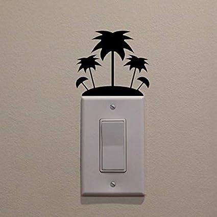Isla Palmera Interruptor de luz Inicio Vinilo Etiqueta de la pared Diseño Etiqueta de la pared Mariposa