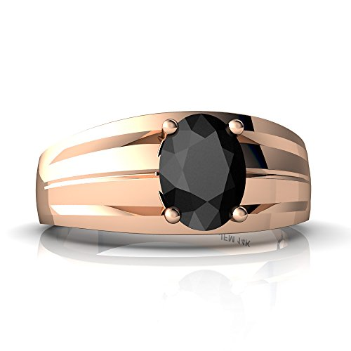 14kt Rose Gold Black Onyx 8x6mm Oval Men's Ring - Size 14
