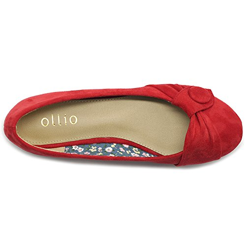 Button Women's Red Suede Faux Shoe Flat Ballet Ollio Decorative wpCFqqn