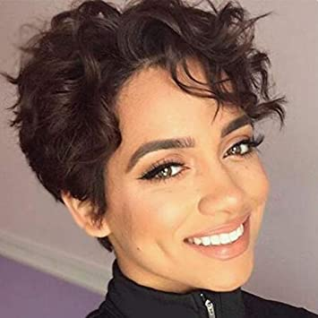 Boycut Sexy Curly Pixie Short Human Hair Lace Front African American Wigs For Women Side Part Short Curly