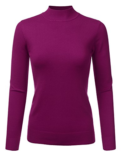 - JJ Perfection Women's Soft Long Sleeve Mock Neck Knit Sweater Top Magenta M