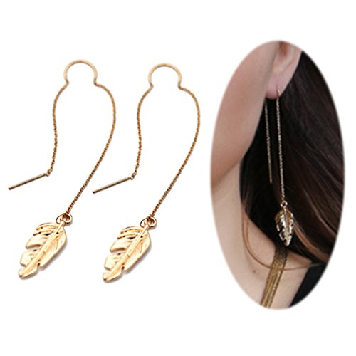 Threader Drop Earring Dangle Ear Long Bar Chandelier Tassel Chain Retro Triangle Crystal Ear Line Jewelry Feather