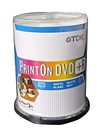 100 on spindle pack TDK Print On DVD R 8x 4.7 GB single sided white matte