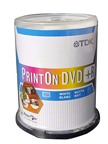 100 on spindle pack TDK Print On DVD R 8x 4.7 GB single sided white matte by TDK