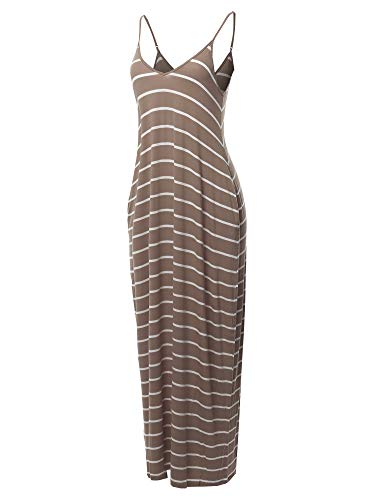 Made by Emma Casual Adjustable Strap Side Pockets Stripe Loose Maxi Dress Mocha M