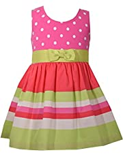 Bonnie Baby Pink Lime Dot Stripe Polka Dot Dress w/Grosgrain Bow