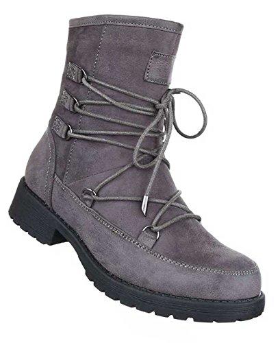 Damen Boots Stiefeletten Schuhe Mit Schnürung Schwarz Grau Braun 36 37 38 39 40 41 Grau
