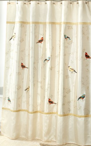Avanti Linens Gilded Birds Shower Curtain, Ivory (Birds Shower Curtain)