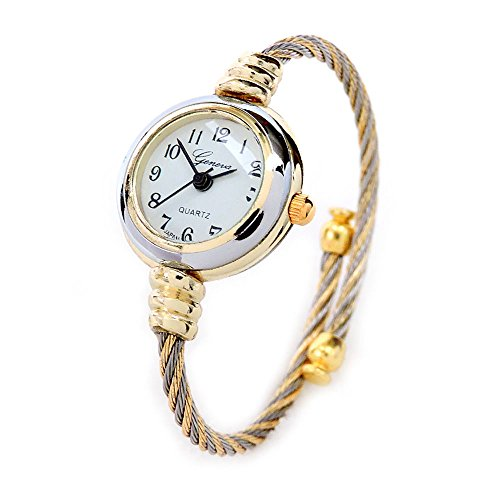 (2Tone Gold Silver Cable Band Ladies Bangle Cuff Watch)