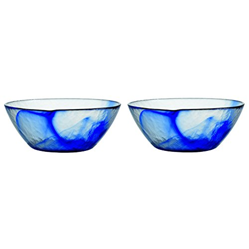 Swirl Pasta Bowl (Bormioli Rocco Murano Blue Glass 9 Inch Medium Bowl, Set of 2)