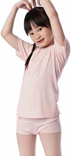 3dae31eb16eee0 NASSE Girl s Short Sleeve Undershirts Modal Free-Cut Crew Neck Tee Shirts  Tops
