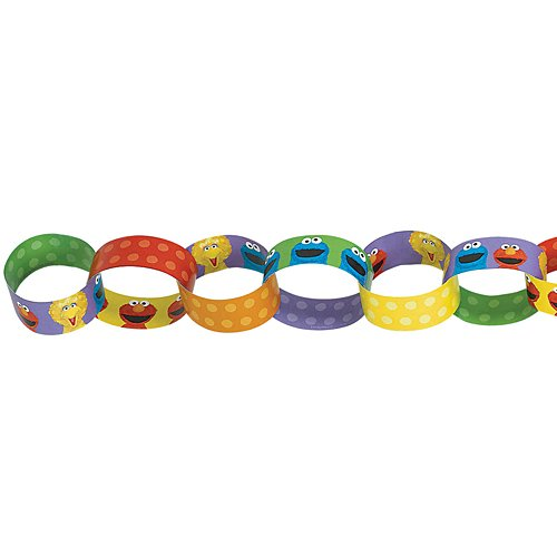 Amscan Sesame Street  1st Birthday Chain Garland Party Decoration, Paper, 12'