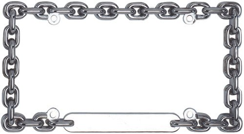 Custom Accessories 92550 Chrome Round Chain Link License Plate - Chain Plate License Frame