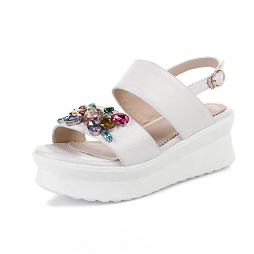 lliamst Women's Open Toe Buckle PU Solid Kitten-Heels San...