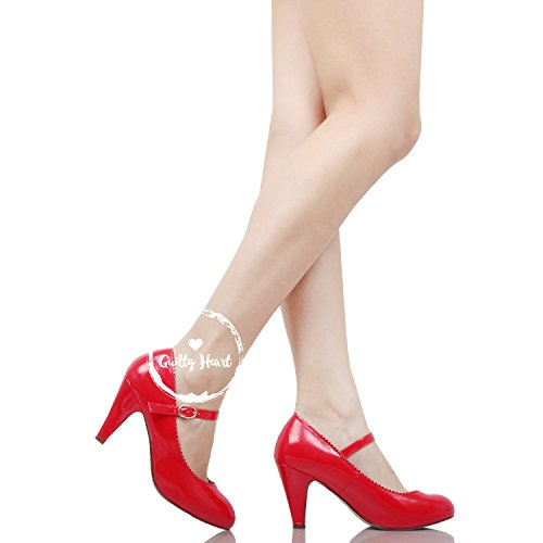 Shoe Round Toe Adjustable Redv1 Scallop Heart Heels with Kitten Jane Mary an Strap Guilty Patent Retro Vintage q8STv8