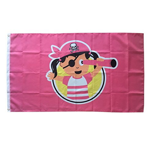WOWMAR 3x5 Foot Pirate Flag - Vivid Color and UV Fade Resistant -Canvas Header and Double Stitched flag 100% Polyester with Brass Grommets 3 X 5 Ft (Girl Pirate Flag)