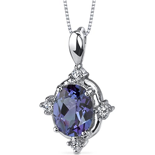 Simulated Alexandrite Pendant Sterling Silver Rhodium Nickel Finish 2.50 Carats Oval Shape