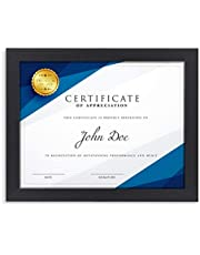 Langdons Diploma Frame (1 Pack, Black) 8.5 x 11 Certificate Frame, Wall Mount Hooks Included with Black Picture Frames for Documents, Prima Collection