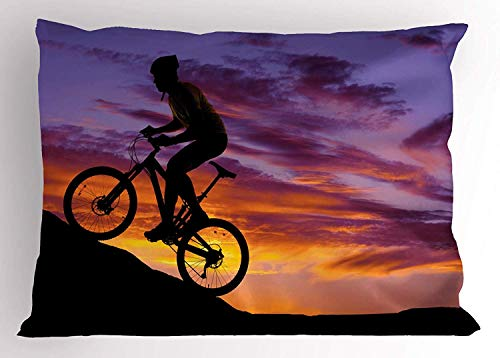 (K0k2t0 Extreme Sports Pillow Sham, Silhouette a Man Climbing a Mountain Bicycle Idyllic Sunset Scenery, Decorative Standard Queen Size Printed Pillowcase, 30 X 20 Inches, Multicolor)
