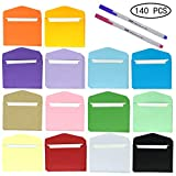 140 Pack Colorful Mini Envelopes with White Blank Business Cards and 2 Pcs Colour Pen HUAYF 14 Colors Small Gift Card Tiny Envelopes Pocket Envelopes for Wedding, Birthday Party Supplies(4.5'' x 3'')