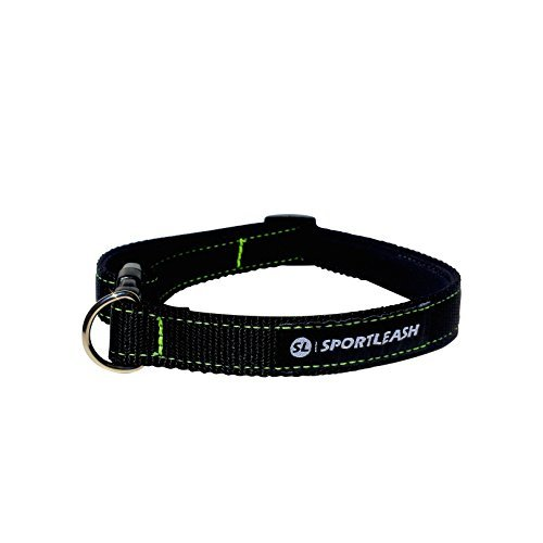 Neoprene-Lined Dog Collar (SportCollar) | Odor-Free, Water-Proof, Dog Collar For Medium Dogs & Large Dogs | Black w/ Neon Green