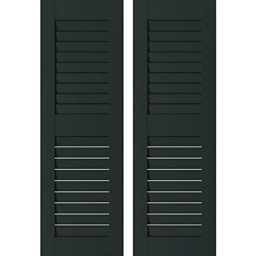 "UPC 889274403041, Ekena Millwork RWL12X060DGM Exterior Real Wood Sapele Mahogany Louvered Shutters (Per Pair), 12"" x 60"", Dark Green"
