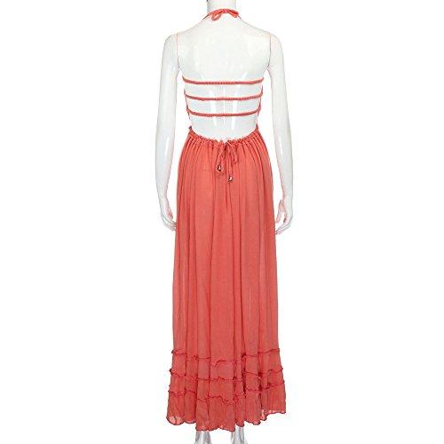 Fanyunhan Womens Ladies Summer Halter Neck Long Dress Bohemian Strappy Backless Maxi Dress Beach Evening Party Sling Sundress Orange by Fanyunhan Dress (Image #2)