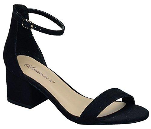 Breckelles Aileen-02 Boucle De La Cheville Sangle Ouvert Peep Toe Bas Bloc Chunky Talon Sandale Chaussure Noir Noir