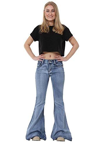 Campana Glamour Mujer Outfitters Vaqueros Estilo Flare Jeans Aspecto De Azul Claro Vintage Para Acampanados qnTqxCwrz