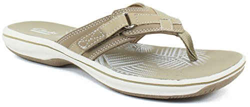 Clarks Women's Breeze Sea Flip Flop, Greystone, 8 B(M) US by CLARKS (Image #1)