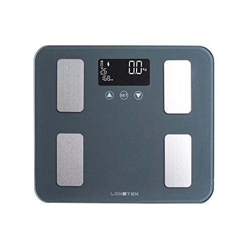Backlit Panel (Longtek - Body Fat Scale FDA Approved Super Size350*300mm Tempered Panel 440lb. Digital Weighting Scale, Large Digital Backlit LCD, 10User Auto Recognition, Elegant Gray)